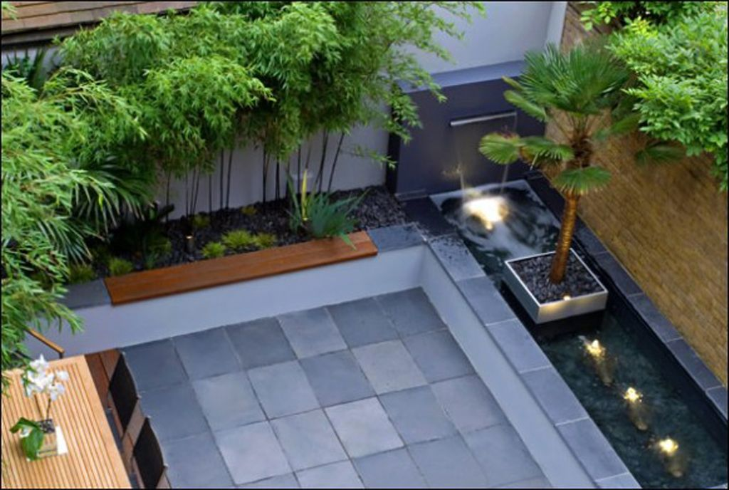 Contemporary Backyard Decorations Plans Courtyard Gardens Design