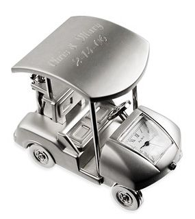 Silver Golf Cart Clock Size: 2-1/2