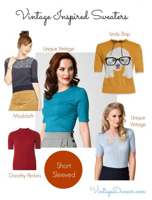 Vintage style short sleeves sweater tops