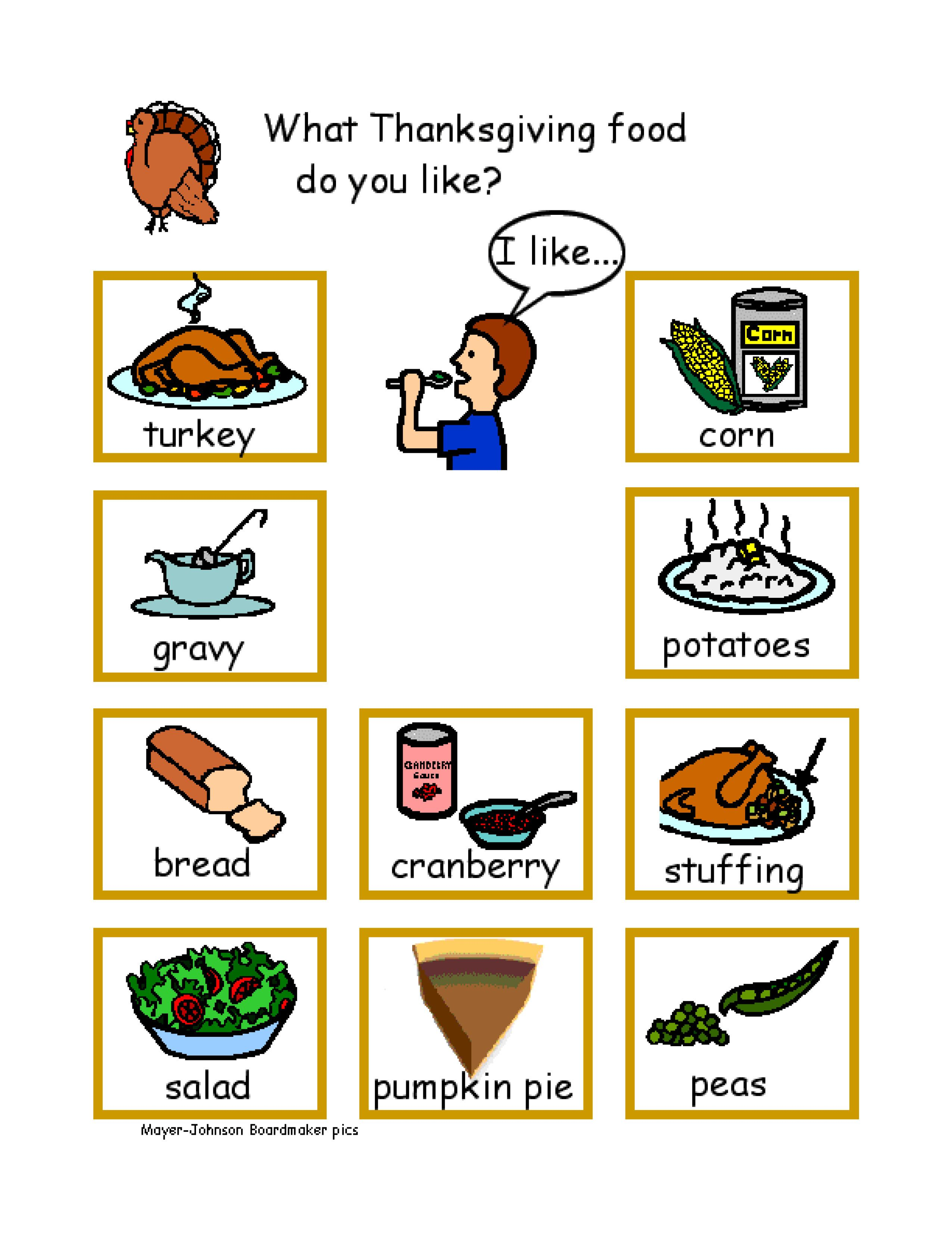 Thanksgiving Conversation Boards And Activities To Print For Free Autism
