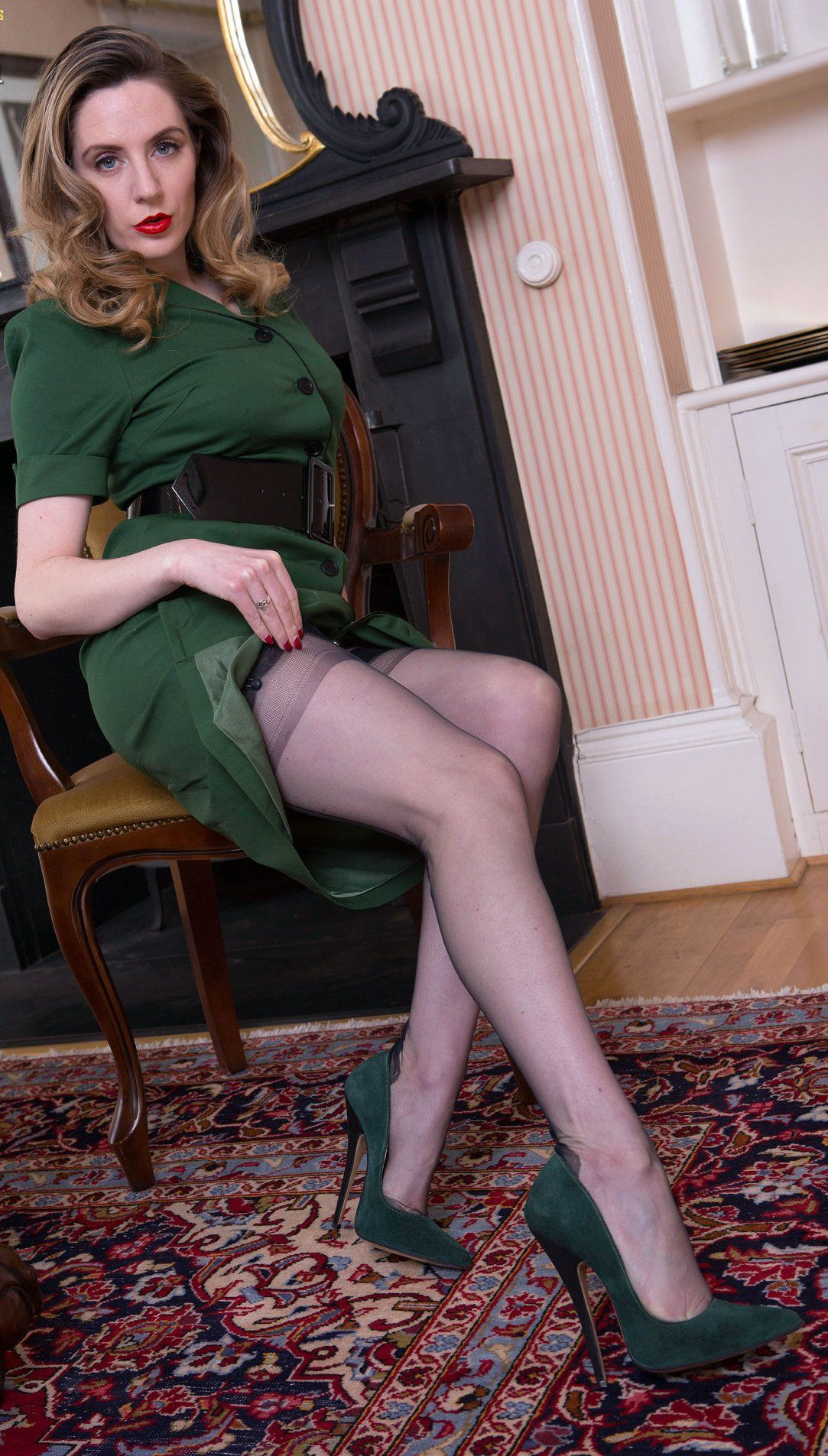 Women posing in stockings