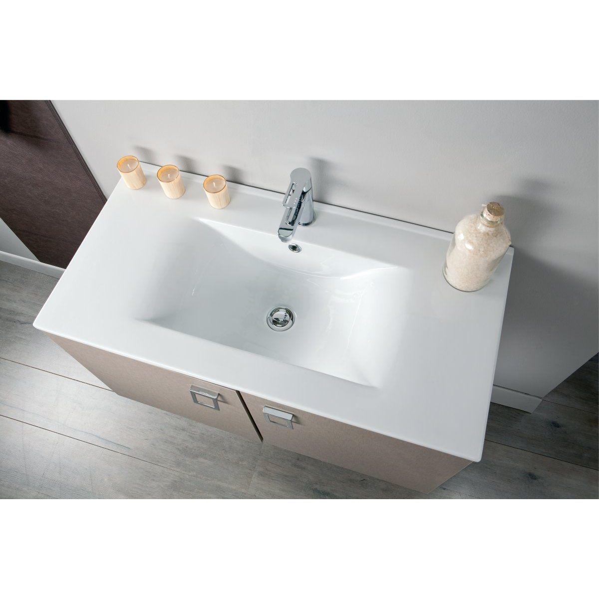Plan céramique 1 vasque SEDUCTA, 90 cm, blanc Réf 813877 - ALTERNA - null