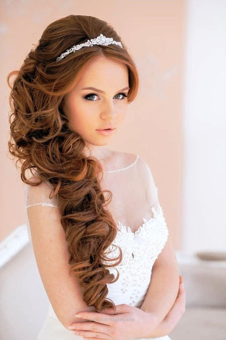 Long curly wedding hairstyles with tiarau wowhairstyles