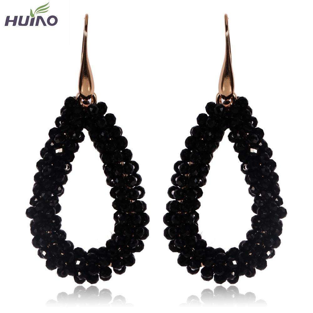 Schwarz Kristall Wassertropfen Form Baumeln Ohrring Vergoldet Mode Ohrring für Frauen Neue Design 2017