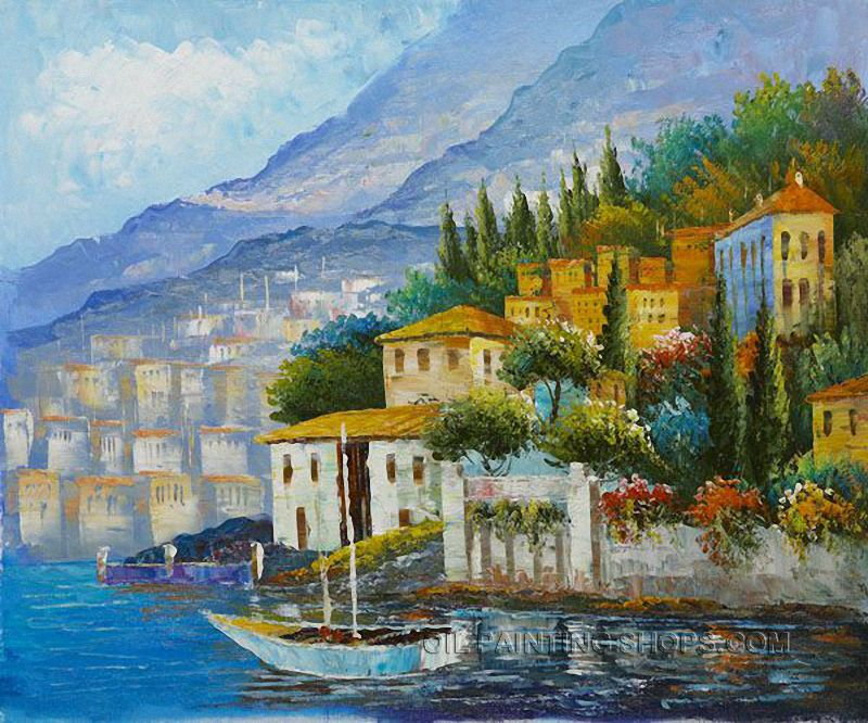 """Elegant Large Wall Art Cheap Mediterranean With Ocean Oil Painting Italy, Size: 24"""" x 20"""", $83. Url: http://www.oilpaintingshops.com/elegant-large-wall-art-cheap-mediterranean-with-ocean-oil-painting-italy-1957.html"""