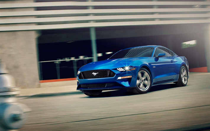 download wallpapers ford mustang 4k 2018 cars musclecars blue