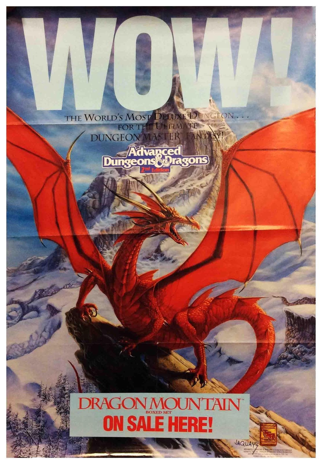 Tsr Ad D 2nd Ed Dragon Mountain Promo Poster Zip Vg Dungeon
