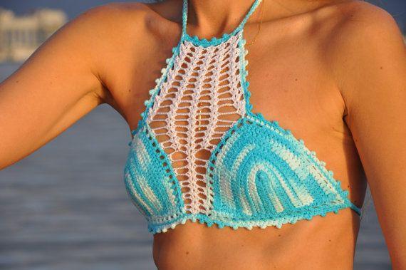 Crochet Bikini Swimsuit in Turquoise Blue and by SeaSideMotifs