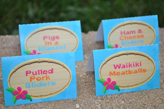 luau food label cards buffet labels  hawaiian luau