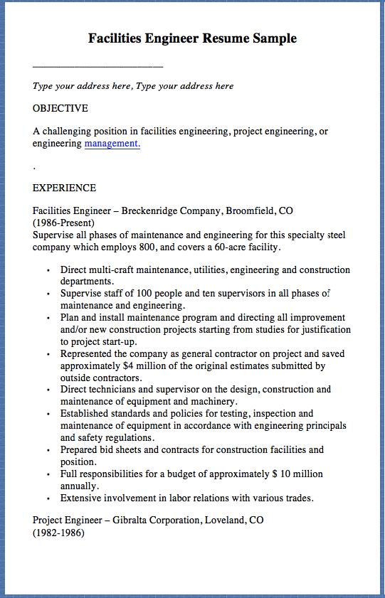 Facilities Engineer Resume Sample Type your address here, Type your ...