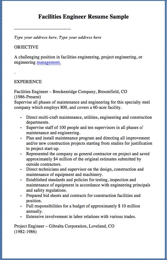 facilities engineer resume sample type your address here type
