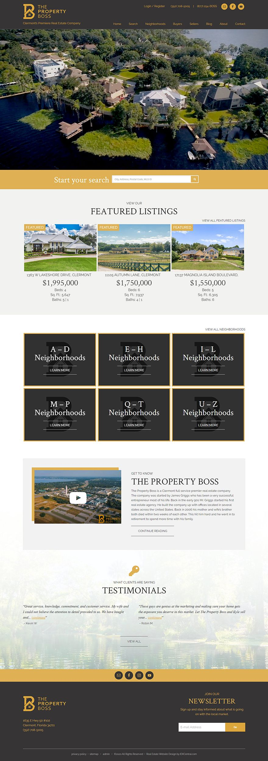 Florida The Property Boss Is A Full Service Florida Real Estate Company Their Indepth Websit In 2020 Real Estate Website Design Real Estate Website Realtor Websites