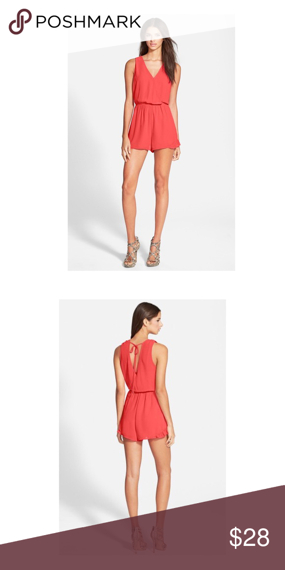 fdaff5a3d58f Astr The Label orange Flutter Romper Playsuit New Gentle pleats flutter the  surplice bodice and leg flaunting shorts of a sporty sleeveless romper.