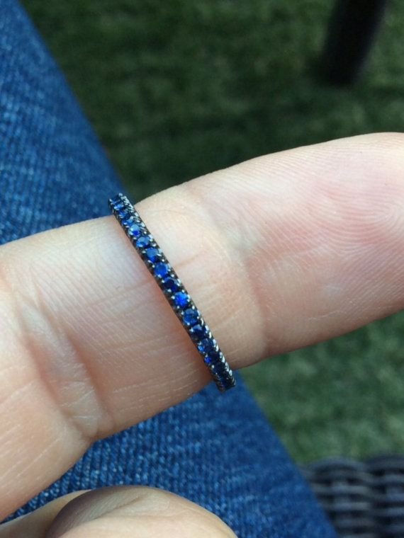 Blue Sapphire Pave Half Eternity Band 14K Black Rhodium Eternity 1.6mm Dark Grey Gold Band with Blue Sapphire Matching Band Anniversary Ring