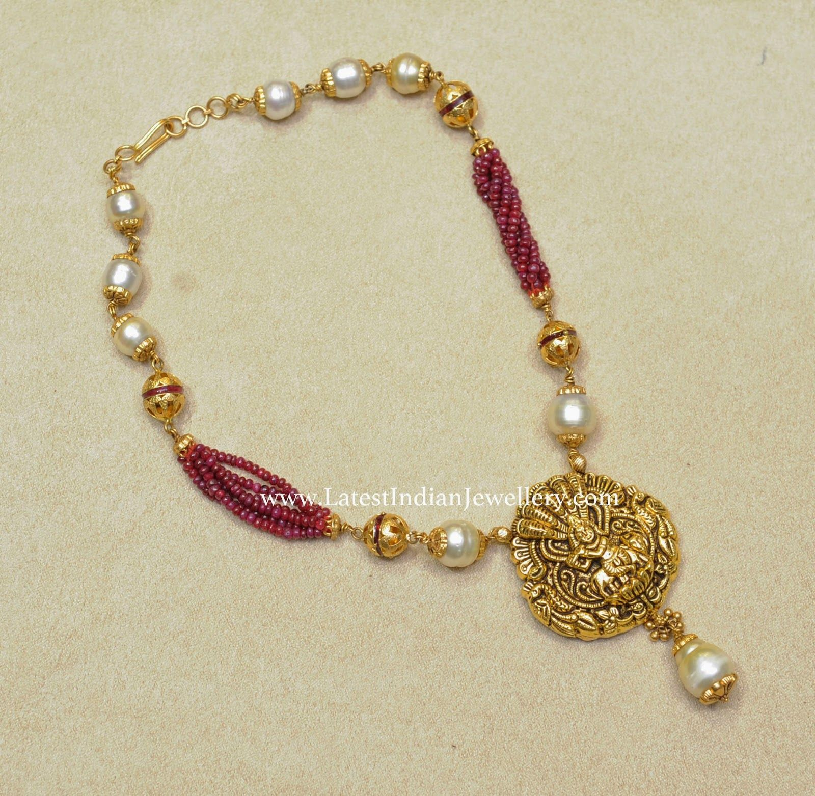 Pearls and Ruby Beads Fancy Necklace | Fancy, Pearls and Beads