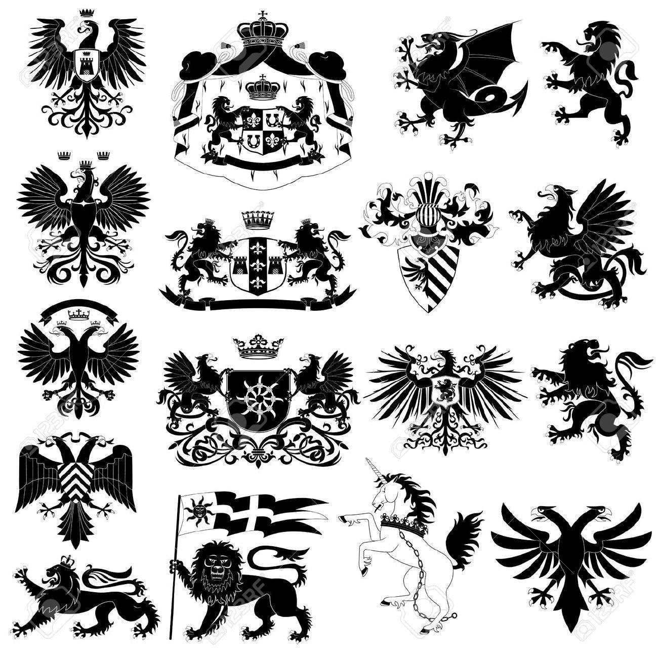 紋章および紋章の動物セット ロイヤリティフリークリップアート