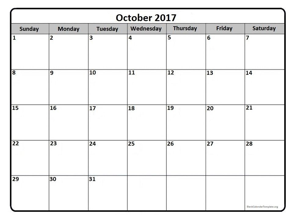 October 2017 monthly calendar printable | Printable calendars ...
