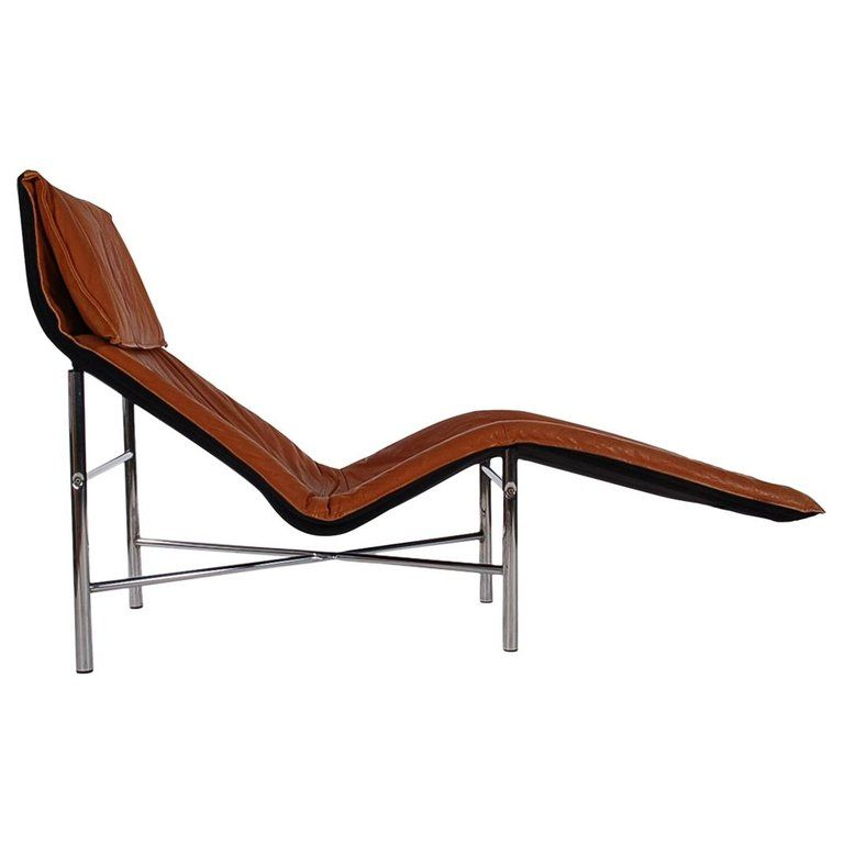 Midcentury Danish Modern Brown Leather Chaise Lounge Chair By Tord