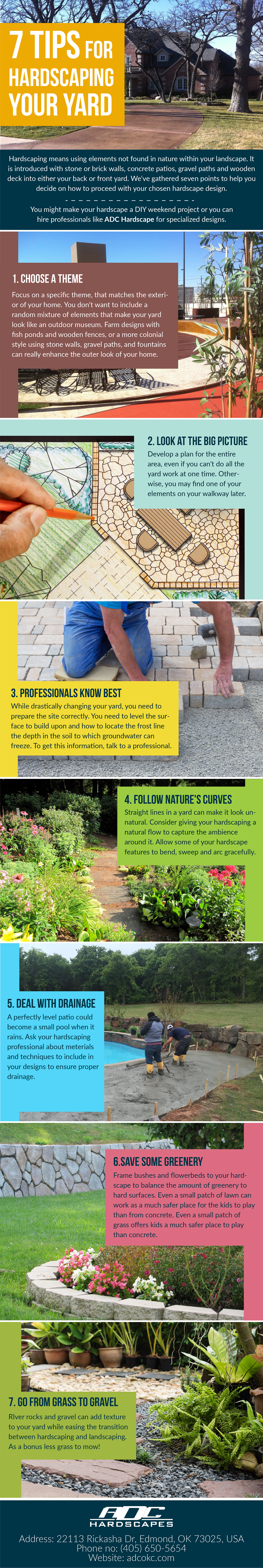 7 Tips For Hardscaping Your Yard Adc Hardscapes Retaining Wall Contractor In Oklahoma City Edmond Ok Hardscape Yard Infographic