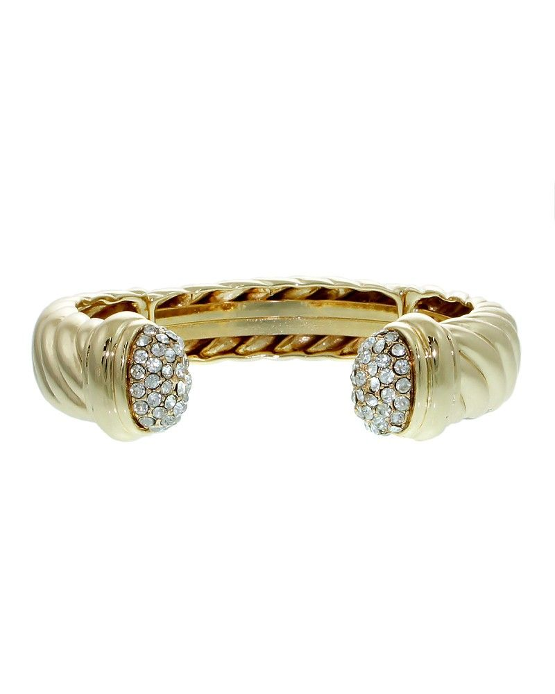 """PB0269-GOLD CLEAR  Simply glamorous rope design cuff bracelet with just the right amount of crystal pave tips.  -plated base metal, crystal -thickness: .5"""" -lead and nickel compliant"""