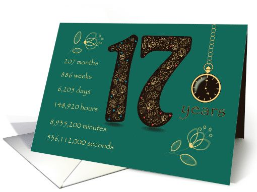 17th Wedding Anniversary 17 Years Break Down Into Months Days Etc Card Counting Cards Wedding Anniversary Cards Birthday Cards