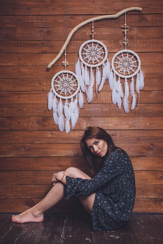 Photo of Large dreamcatcher, feather dreamcatcher, dream catcher wall hanging
