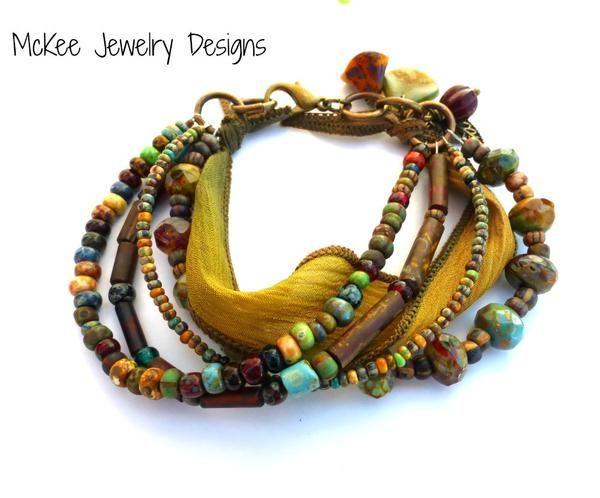 Chunky Picasso Czech Glass, silk ribbon bracelet. - McKee Jewelry Designs