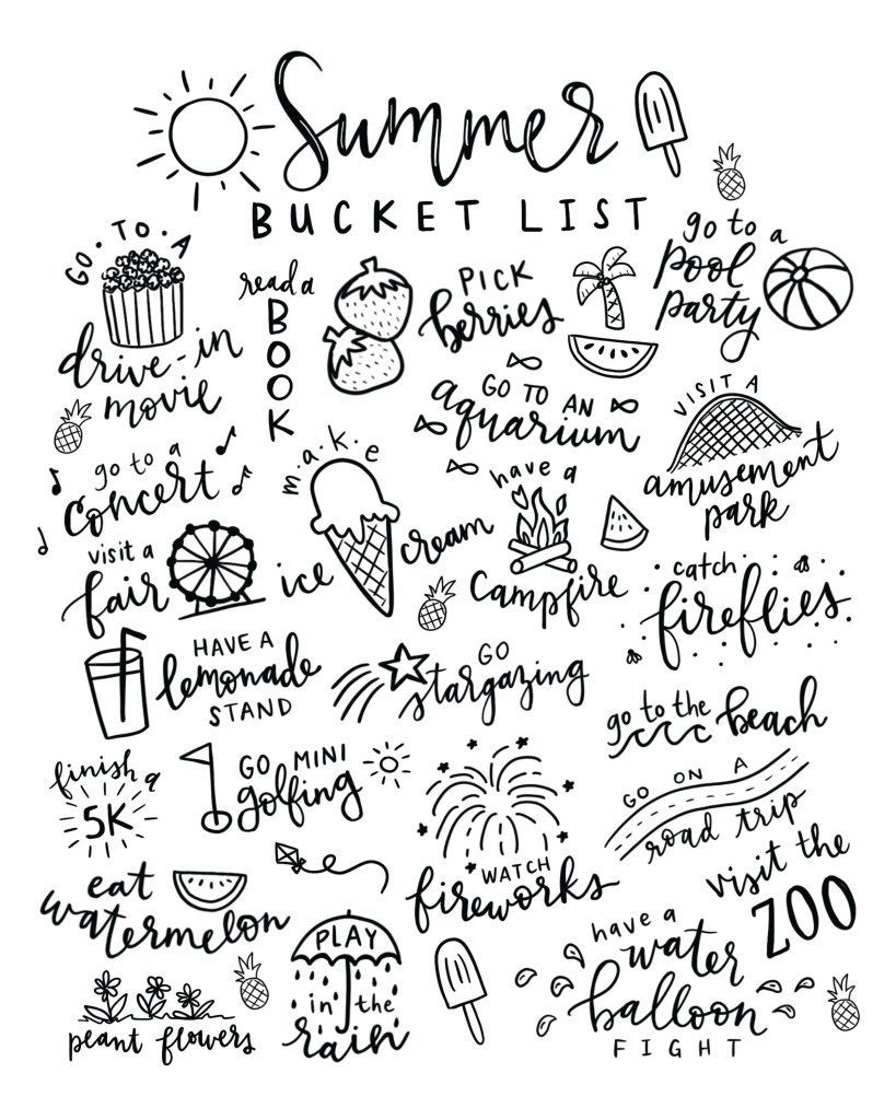 Summer Bucket List Free Printable Coloring Page Summer Bucket
