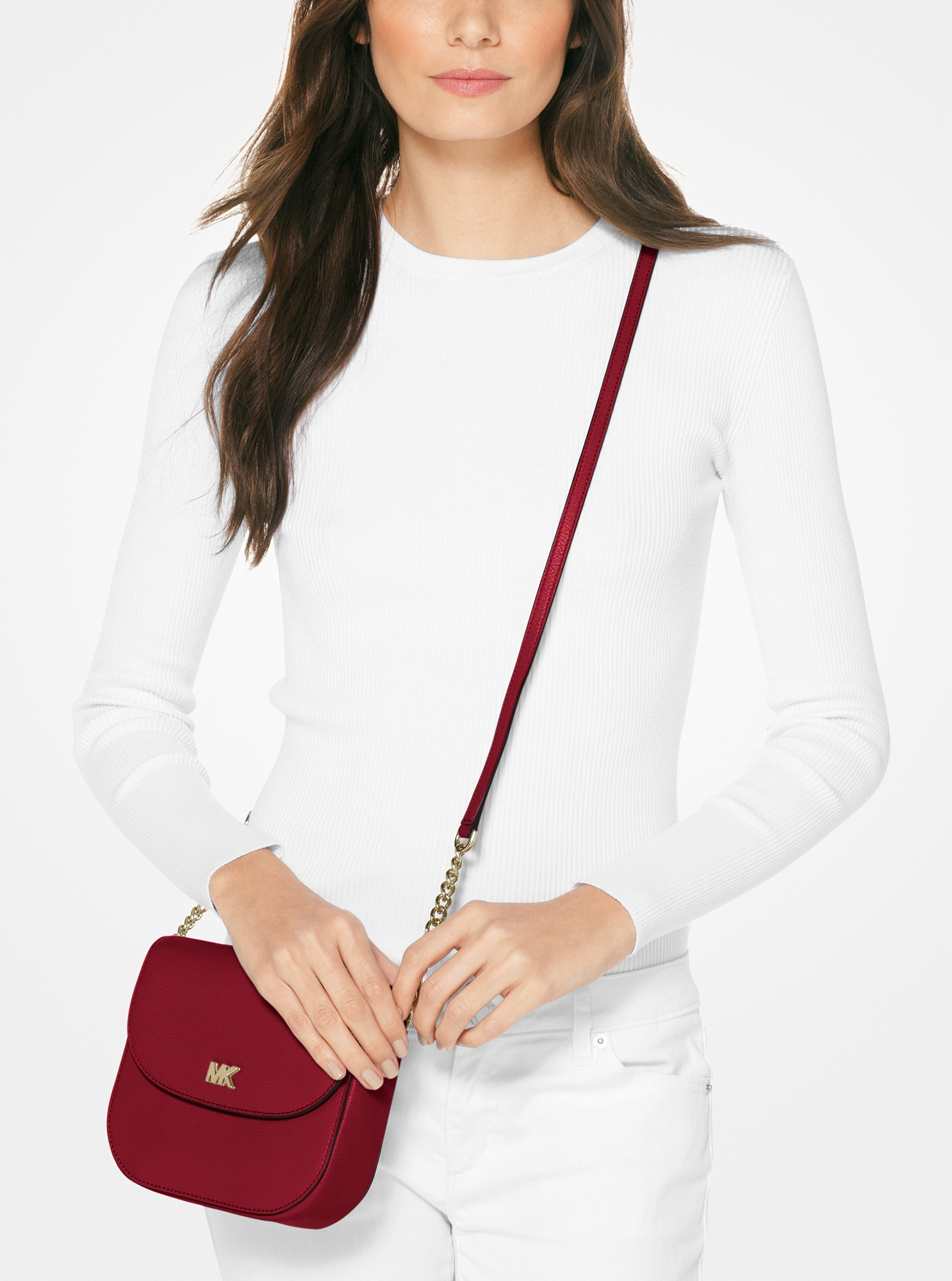7bb0a43c3453 Michael Kors Mott Pebbled Leather Dome Crossbody - Maroon in 2019 ...