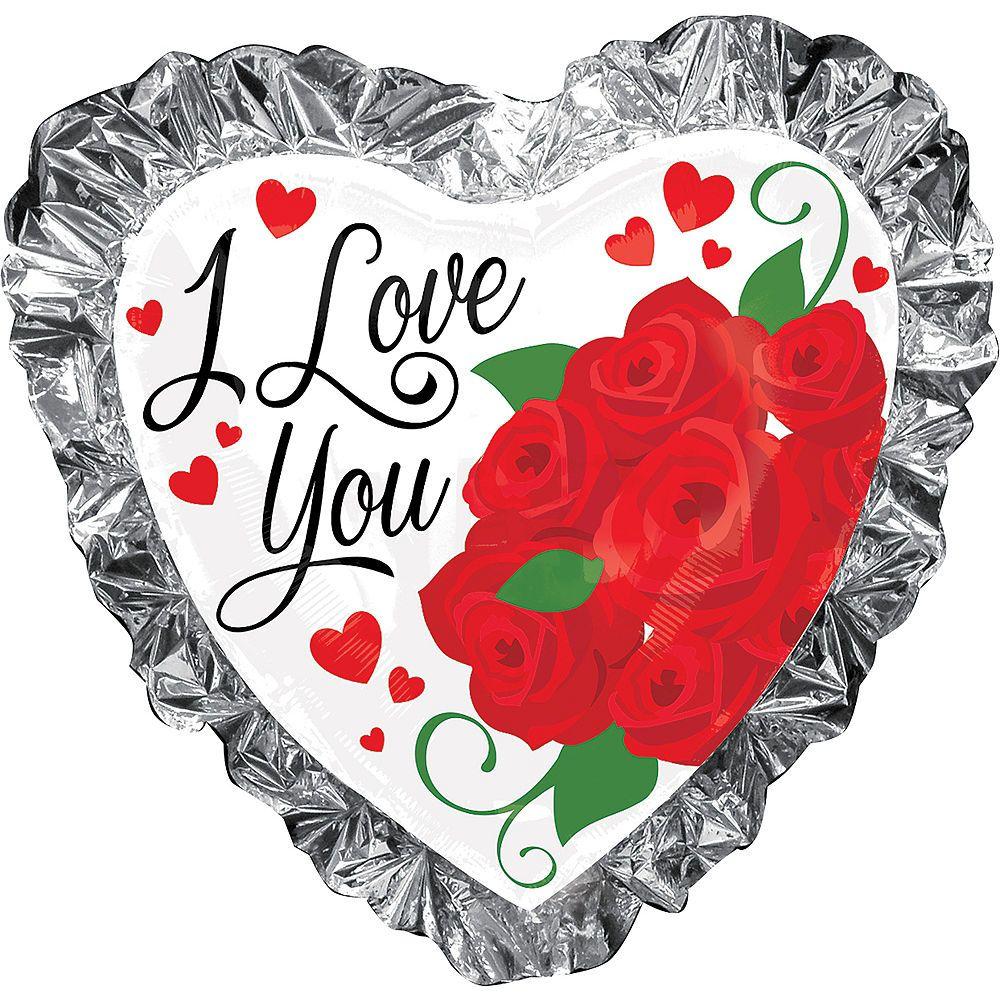 Foil Ruffle I Love You Heart Balloon 28in Heart balloons