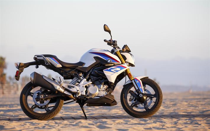 Lataa kuva 4k, BMW G 310 R, sportbikes, 2018 polkupyörää, saksalainen moottoripyörien, BMW