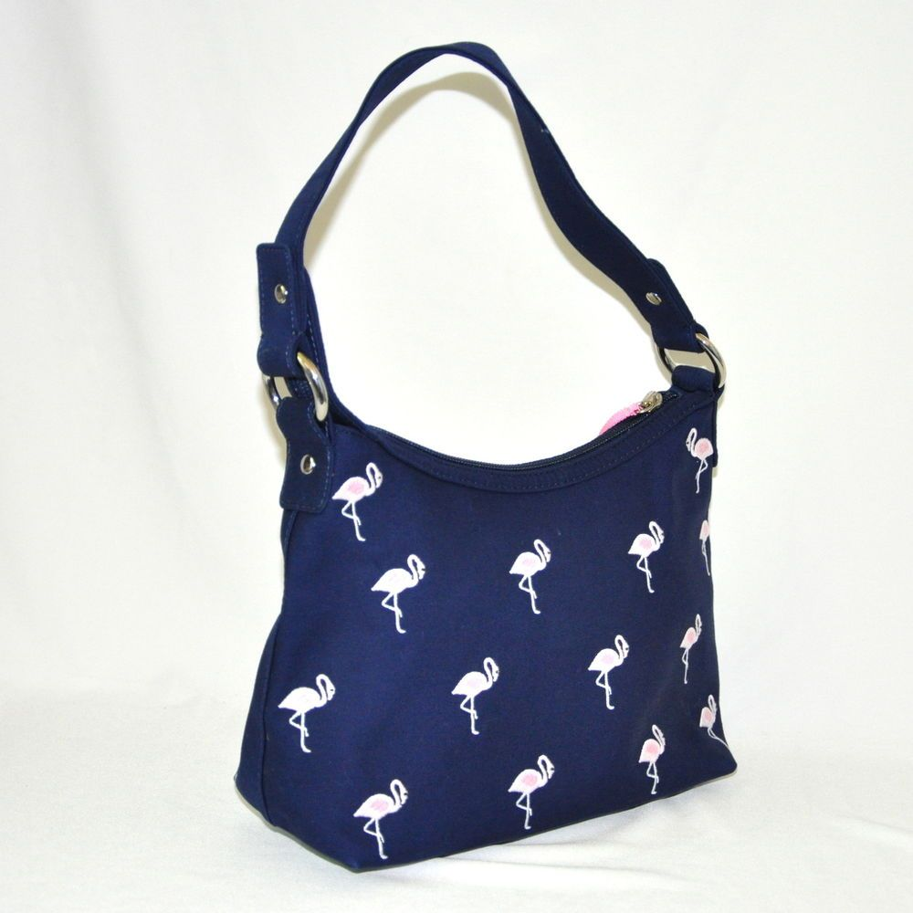 Flamingo Embroidered Handbag Talbots Purse Blue Background Cloth Shoulderbag
