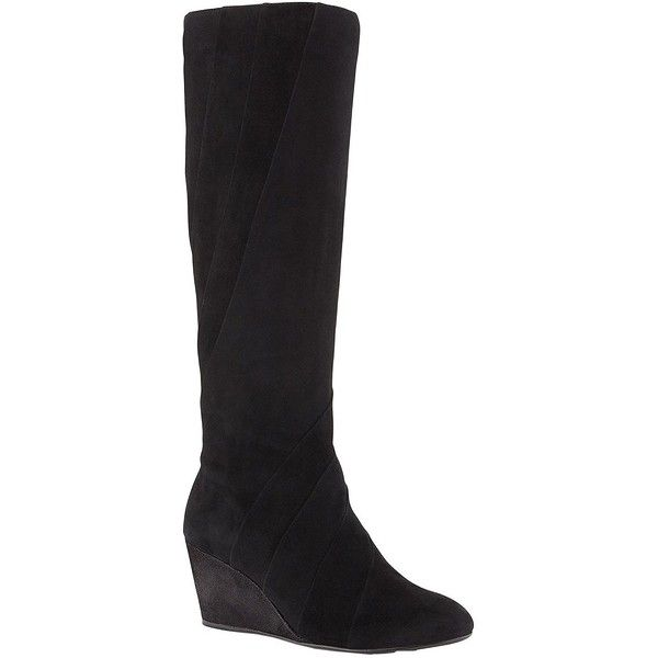 Taryn Rose Kalo Suede Knee-High Wedge Boots ($339) ❤ liked on Polyvore featuring shoes, boots, black, black suede boots, black knee high boots, black wedge boots, knee high boots and wedge boots