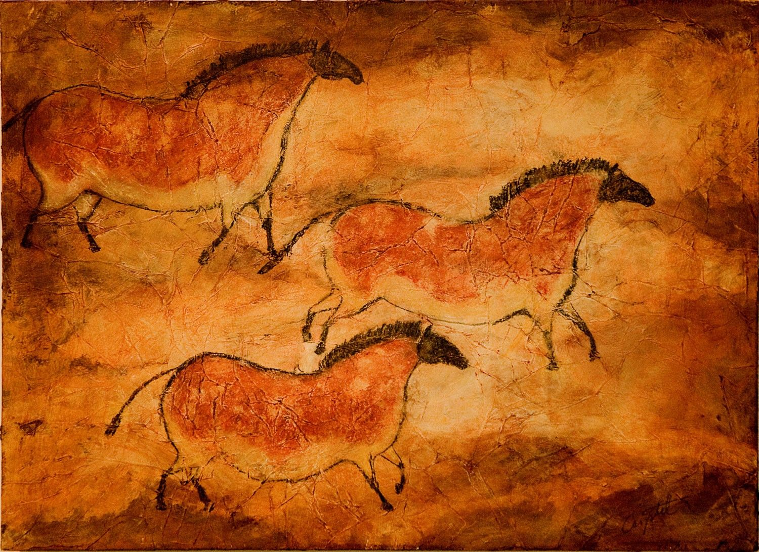 Cave Art Series Three Ponies 8x10 Print Of Prehistoric