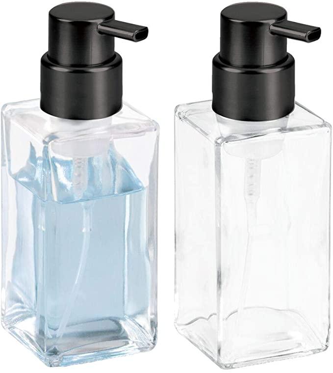 mDesign Modern Glass Refillable Foaming Soap Dispenser Pump Bottle for Bathroom