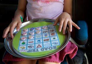 Magnetic Road Trip Bingo (metal dish from dollar store, laminate bingo card, magnets as pieces)