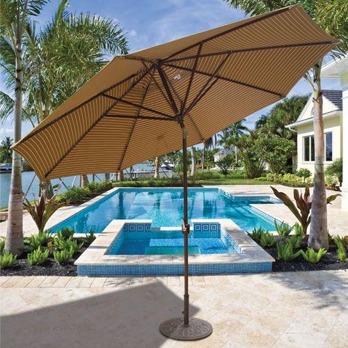 11u0027 Deluxe Auto Tilt Patio Umbrella With Sunbrella Fabric