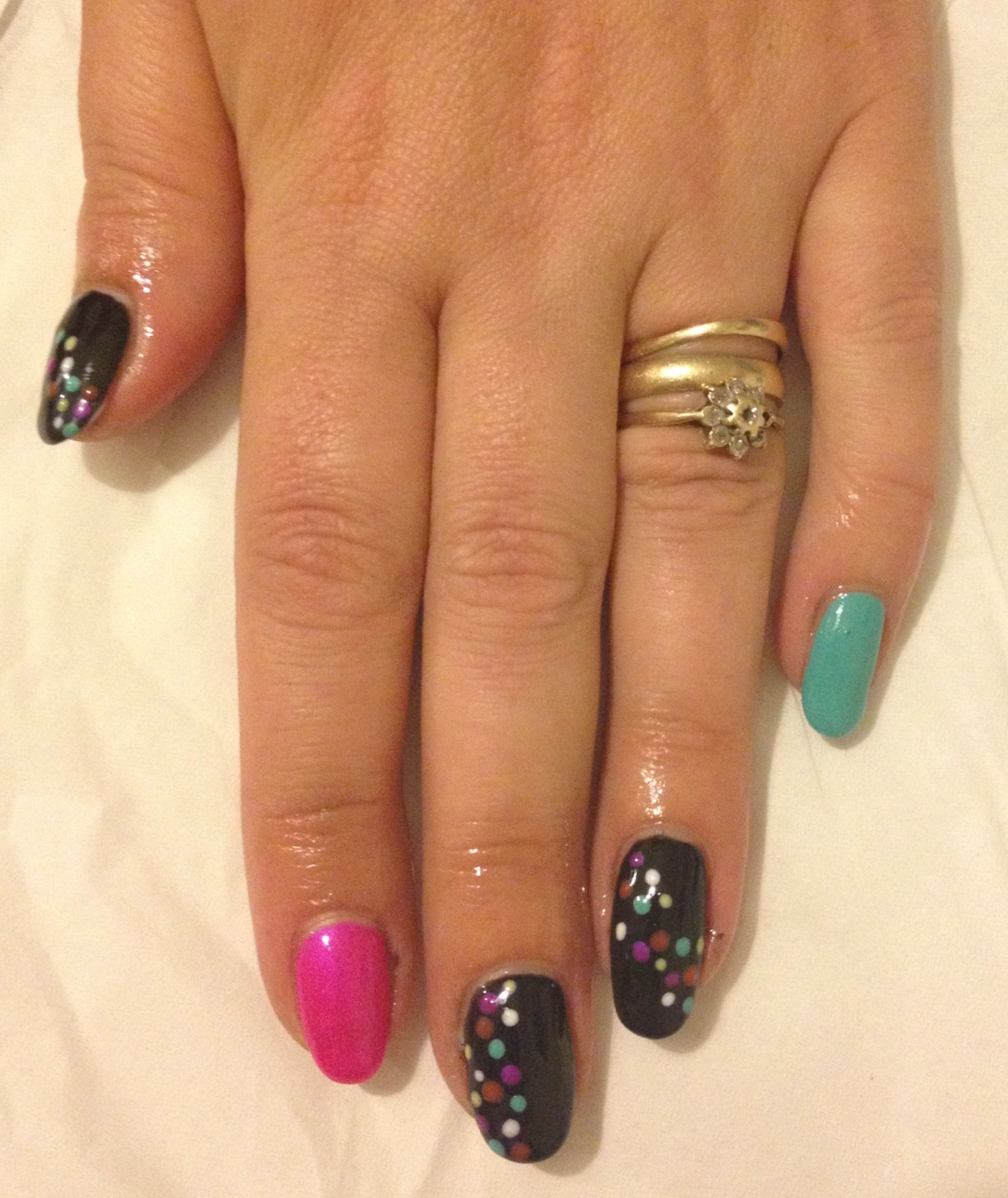 Gellux gelish Multi colour dots on black onyx with pink champagne ...