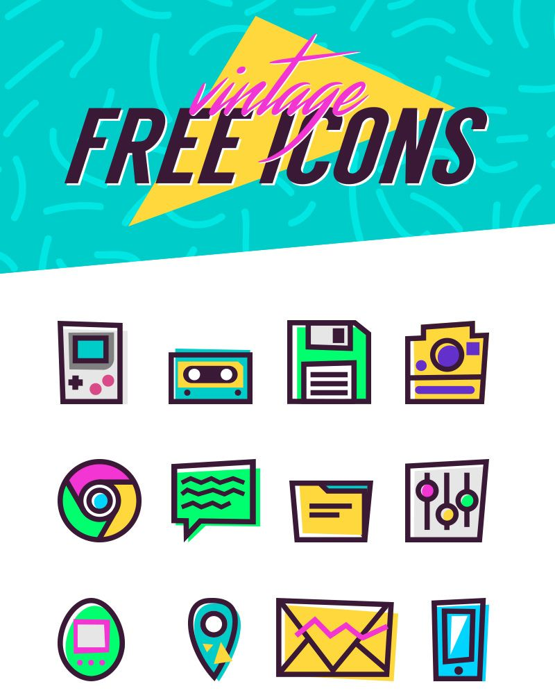 This Freebie Is A Collection Of Vintage Icons For Free Download The Vintage Icons Set Of 26 Free Icons Is 90s Graphic Design Web Design Quotes Vintage Icons