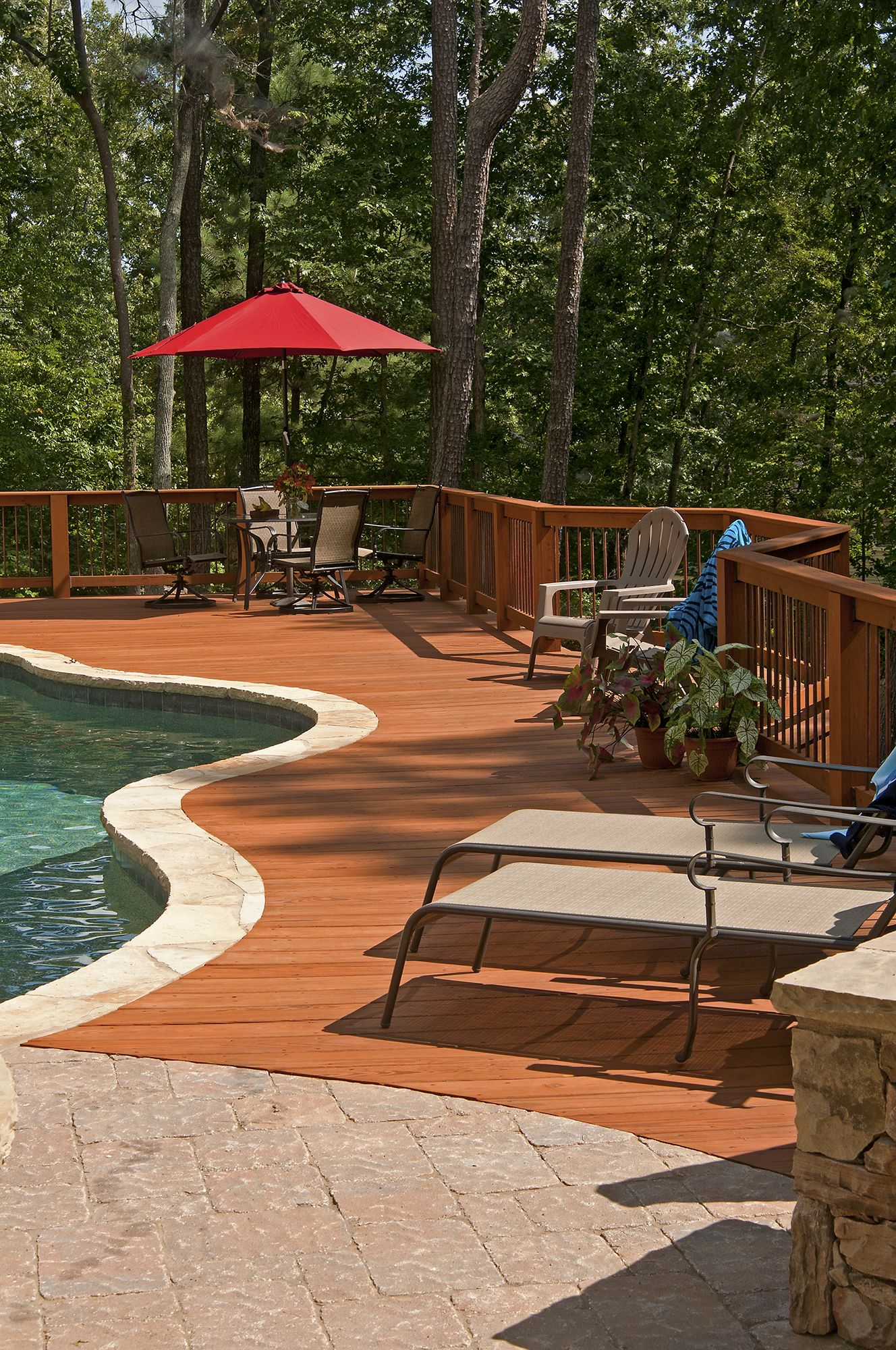 Wood Deck Adjoining An Inground Pool Designed And Built By Atlanta Decking Inground Pool Landscaping Wood Pool Deck Decks Around Pools