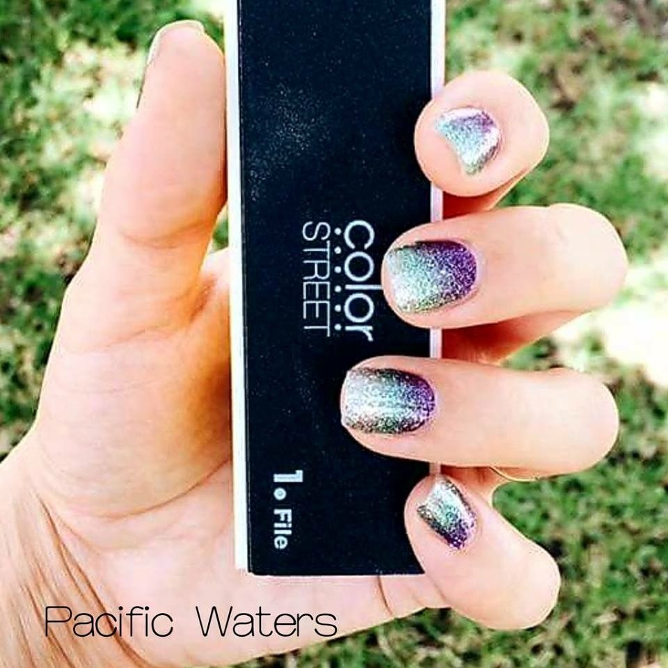 Pacific Waters Color Street Nail Strips 100 Nail Polish No Dry Time Lasts 2 Weeks