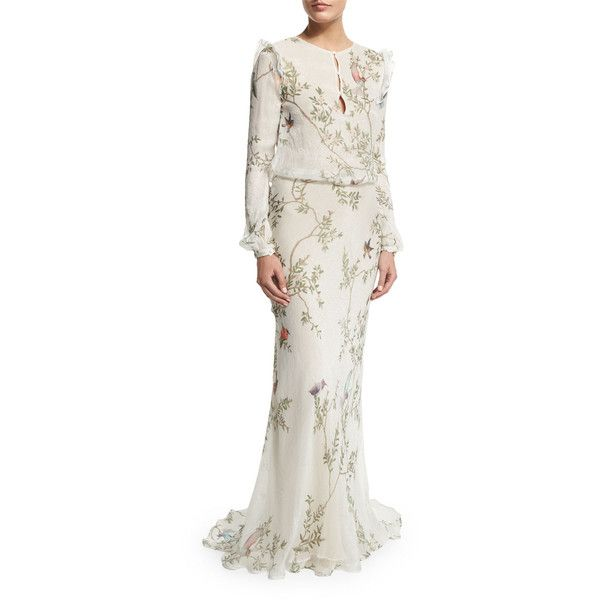 Monique Lhuillier Long-Sleeve Bird-Print Column Gown ($3,495) ❤ liked on Polyvore featuring dresses, gowns, white dress, white gown, white ball gowns, long sleeve evening gowns and chiffon dress