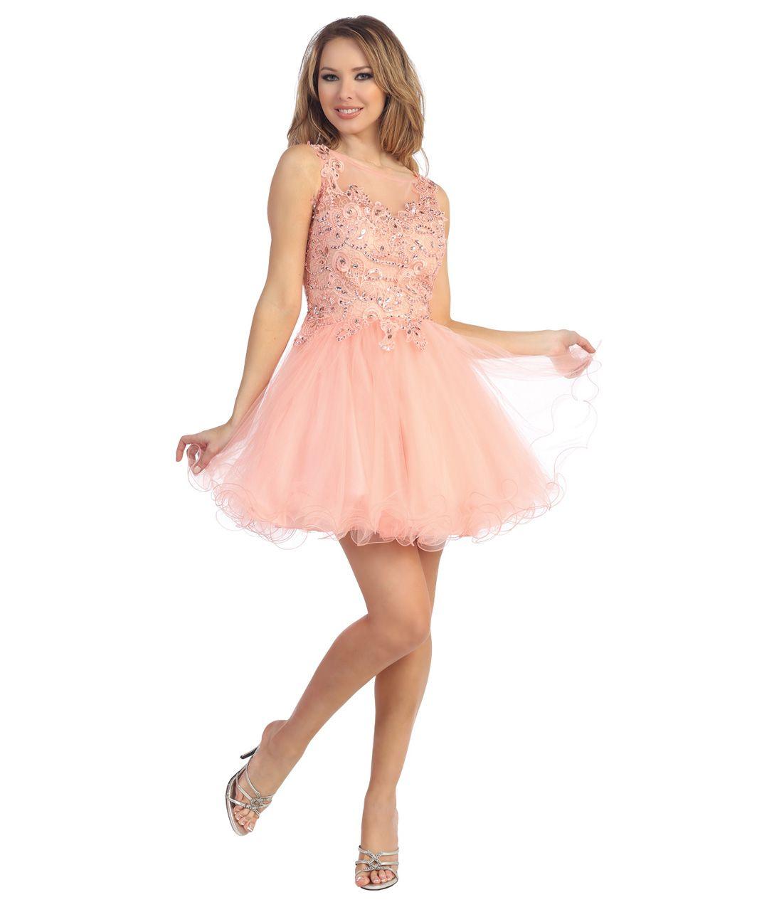 2014 Prom Dresses - Blush Peach Filigree Tulle Short Prom Dress ...