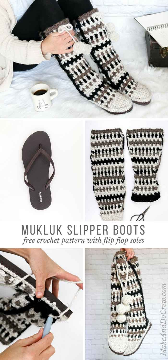 Mukluk Crochet Slipper Boots with Flip Flop Soles - Free Pattern ...