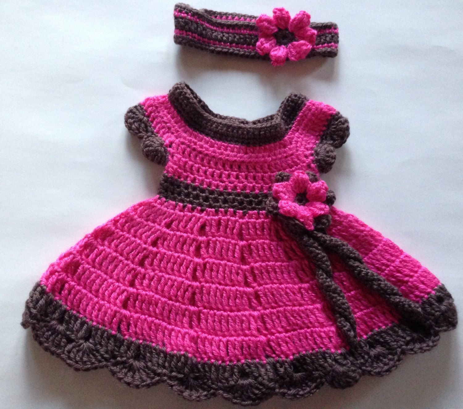 Pink and Brown Crochet Baby Dress and Headband with Flower by ...