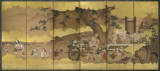 Seven Gods of Good Fortune and Chinese Children Kano Chikanobu (Japanese, 1660–1728) Period: Edo period (1615–1868) Date: 17th–18th century Culture: Japan Medium: One of a pair of six-panel folding screens; ink, color, and gilt on paper; Reverse side: ink, color, and gold on paper