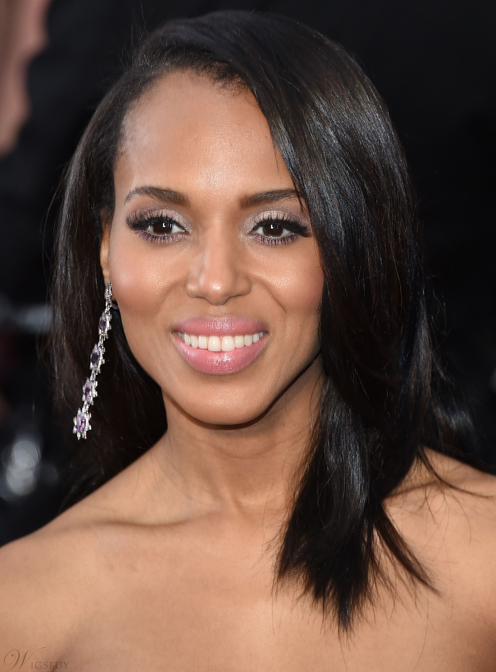 Kerry Washington Medium Straight Lace Front Human Hair Wigs 16 Inches Hair Styles Straight Hairstyles Daily Hairstyles