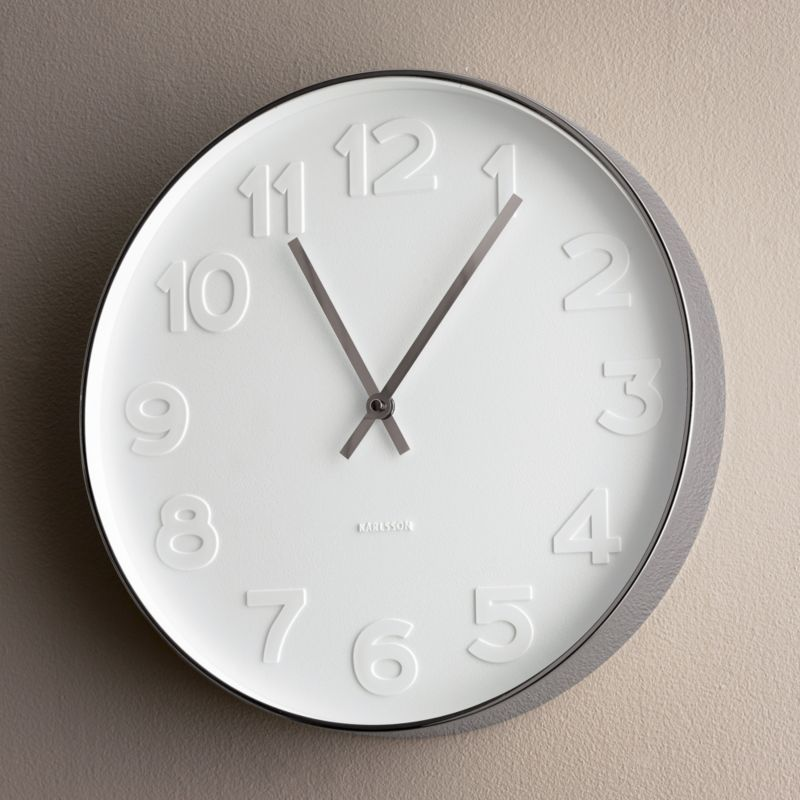 Our Monochromatic Wall Clock Is Embossed With Large White Numerals On A  White Face And Accented Nice Ideas