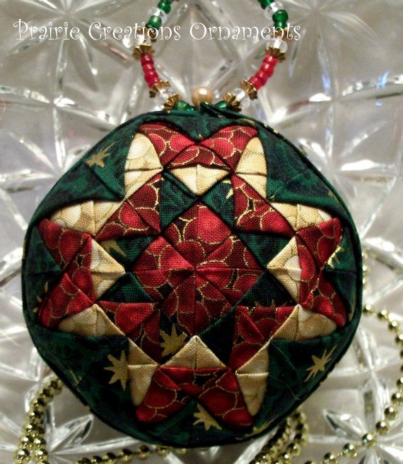 Christmas Patchwork Quilted Ball Ornament by MyPrairieCreations ... : quilted ball - Adamdwight.com