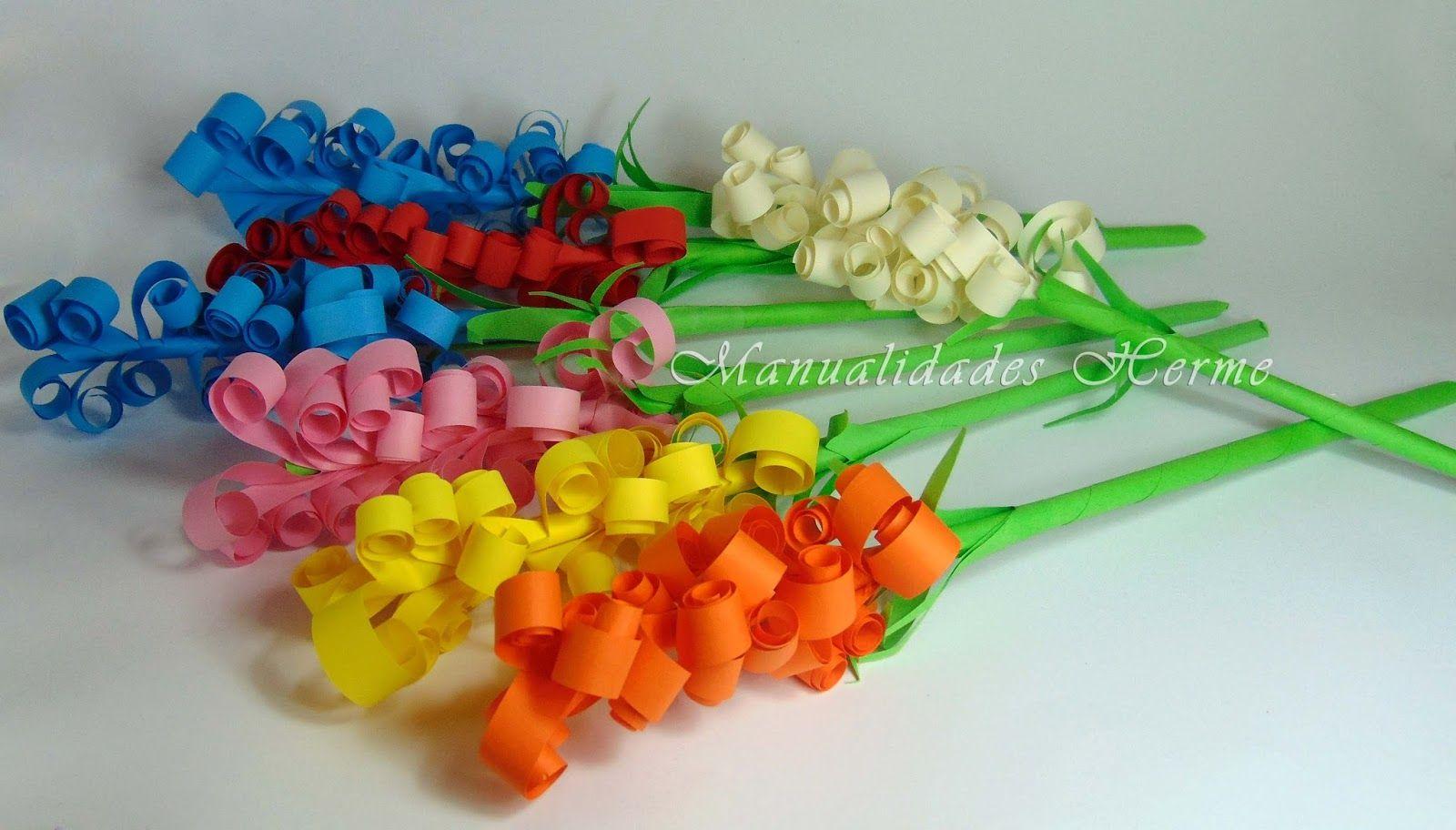 Flores de papel llenas de color c mo hacer jacintos - Manualidades facilisimas para ninos ...